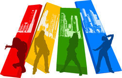 Cor Hip Hop Silhouet do arco-íris ilustração royalty free