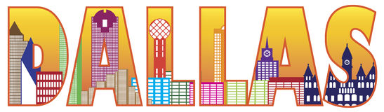 Cor Illustratio de Dallas City Skyline Text Outline Imagem de Stock Royalty Free