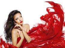 Cor longa do preto do cabelo da mulher, modelo de forma Face Makeup Portrait fotos de stock