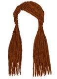 Cor longa na moda do gengibre vermelho dos cornrows do cabelo Gráficos realísticos Imagens de Stock Royalty Free