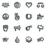 Cor 2 a mão livre dos ícones dos direitos humanos ilustração do vetor