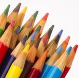 Cor múltipla de madeira ascendente próxima Art Supply Pencils do macro Imagem de Stock Royalty Free