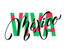 Cor mexicana da bandeira do símbolo nacional do vetor do Dia da Independência da rotulação de Viva Mexico Fotografia de Stock