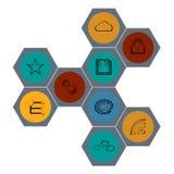 Cor moderna ajustada dos ícones da Web Imagem de Stock