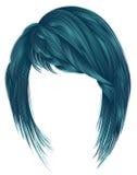 Cor na moda do azul dos cabelos da mulher kare com comprimento do meio dos golpes Fotos de Stock
