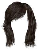 Cor na moda do marrom escuro dos cabelos da mulher comprimento médio Estilo da beleza Foto de Stock Royalty Free