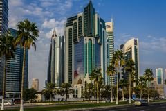 Cor niche street in Doha in daylight Stock Photos
