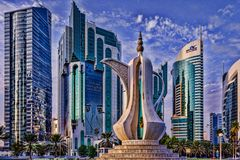 Cor niche street in Doha, Qatar in daylight Stock Images