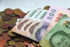 Cor   O dinheiro da moeda do dinheiro de Tailândia calcula imagens de stock