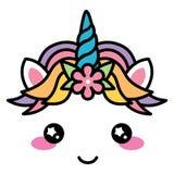 Cor pastel bonito do arco-íris da cara do unicórnio de Kawaii com flor Imagem de Stock