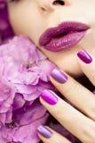 Cor pastel clara tratamento de mãos e composição roxos multi-coloridos Foto de Stock