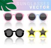 Cor pastel dos óculos de sol da forma ajustada para a ilustração do vetor do verão Imagem de Stock Royalty Free