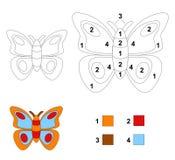 Cor pelo jogo de número: A borboleta Fotografia de Stock Royalty Free