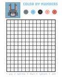 Cor pelo número, jogo da educação, coelho ilustração stock