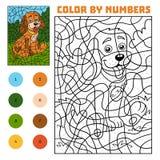 Cor pelo número para crianças, cão ilustração royalty free