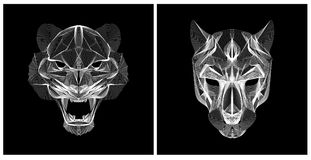 Cor preto e branco da cabeça do tigre da ilustração de Lineart Fotos de Stock Royalty Free