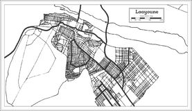 Cor preto e branco do iin de Laayoune Sahara City Map Ilustra??o preto e branco do vetor ilustração stock