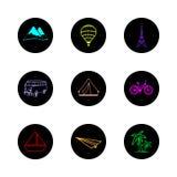 Cor redonda dos ícones do curso Imagem de Stock Royalty Free