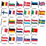 A cor simples curvada embandeira toda a coleção eps10 dos países da União Europeia Imagens de Stock Royalty Free