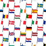 A cor simples curvada embandeira todo o teste padrão sem emenda eps10 da coleção dos países da União Europeia Imagens de Stock