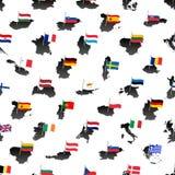 A cor simples embandeira todos os países da União Europeia no teste padrão sem emenda eps10 dos mapas Fotos de Stock