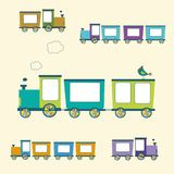 Cor simples Toy Trains do estilo e vagões ajustados Fotografia de Stock Royalty Free