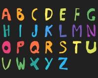 Cor tirada mão do alfabeto inglês da criança corajosa Imagem de Stock