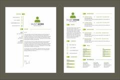 Cor verde do curriculum vitae do resumo do CV com recurso do molde da etiqueta Fotografia de Stock