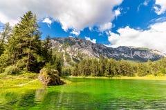 Cor verde real de surpresa do lago mountains, paisagem fotografia de stock