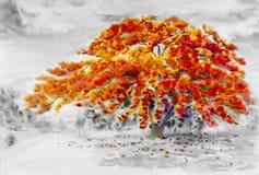 Cor vermelha de pintura de paisagem da aquarela da flor de pavão imagens de stock