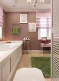 Cor vermelha do art deco do banheiro Fotos de Stock Royalty Free