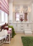 Cor vermelha do art deco do banheiro Imagem de Stock Royalty Free