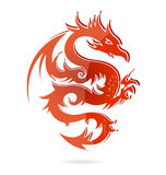 Cor vermelha do dragão de vidro de Ásia isolada Imagem de Stock