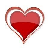 Cor vermelha do símbolo brilhante do coração do amor Foto de Stock Royalty Free