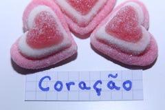 Coração词用心脏的葡萄牙语用英语 库存图片