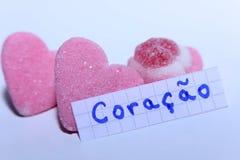 Coração词用心脏的葡萄牙语用英语 免版税库存照片