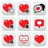Coração, ícones do vetor do amor ajustados Foto de Stock Royalty Free