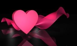 coração 3D e tela cor-de-rosa no preto Fotos de Stock Royalty Free
