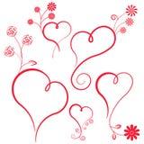 Coração abstrato com flores. Imagens de Stock