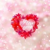 Coração abstrato com flores Imagens de Stock Royalty Free