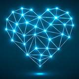 Coração abstrato com pontos e linhas de incandescência, conexões de rede Fotografia de Stock