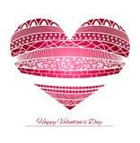 Coração abstrato cor-de-rosa decorativo do vetor Cartão do dia do Valentim Imagens de Stock