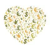 Coração abstrato do dinheiro Imagens de Stock