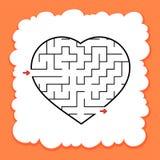 Coração abstrato do labirinto Dia do Valentim Jogo para miúdos Enigma para crianças Uma entrada, uma saída Enigma do labirinto Ve fotografia de stock
