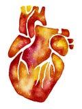 Coração alaranjado com efeito da galáxia ilustração do vetor