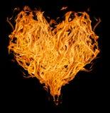 Coração alaranjado da chama no preto Foto de Stock