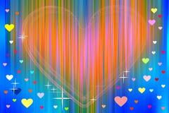 Coração alaranjado e corações coloridos no fundo abstrato ilustração royalty free