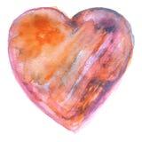 Coração alaranjado e roxo pintado à mão da aquarela Fotografia de Stock Royalty Free