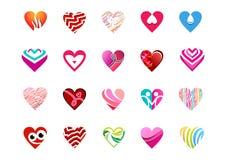 Coração, amor, logotipo, coleção do projeto do vetor do ícone do símbolo dos corações Fotos de Stock Royalty Free