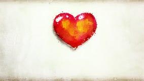 Coração animado da aquarela com mãos ilustração royalty free